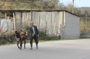 Onderweg naar Elbasan, op de snelweg...